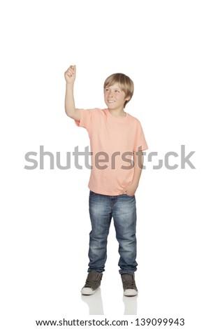 Smiling boy raising his arm holding something isolated on white background - stock photo