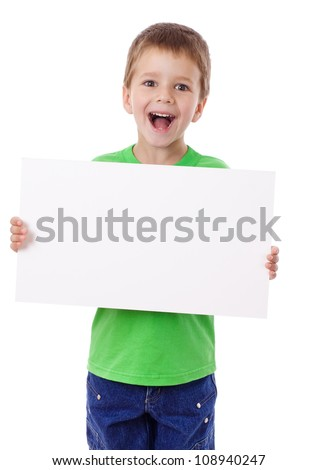 Smiling boy standing with empty horizontal blank in hands, isolated on white - stock photo