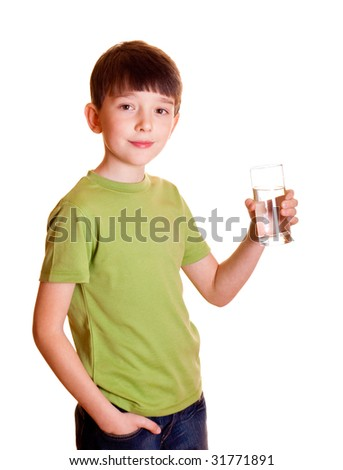 Smiling boy with a glass of water - stock photo