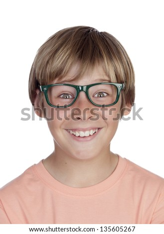Smiling boy with glasses isolated on a white background - stock photo