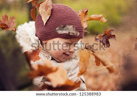 Smiling boy with leaves around the head - stock photo