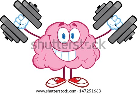 Smiling Brain Cartoon Character Training With Dumbbells. Vector version also available in gallery - stock photo