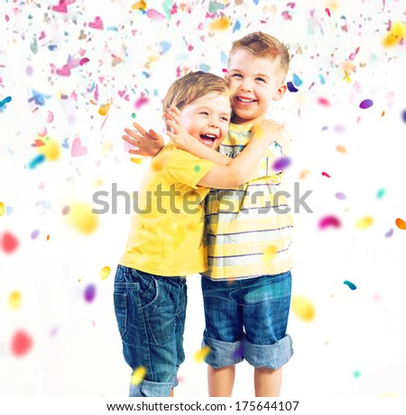 Smiling brothers - stock photo