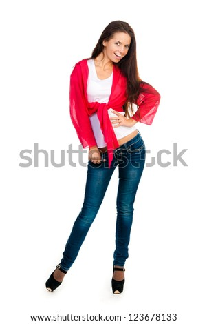 smiling brunette at the camera on a white background - stock photo
