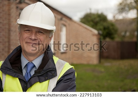 Smiling Building Site Foreman - stock photo