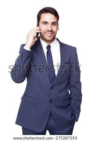 Smiling business man talking on the phone, isolated on white background - stock photo