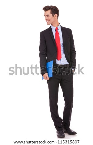 smiling business man with a clipboard looking to his right side on white background - stock photo