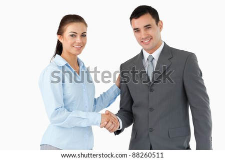 Smiling business partners shaking hands against a white background - stock photo