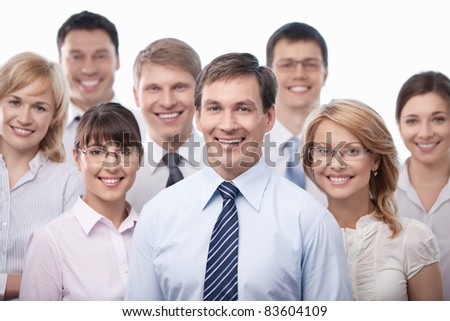 Smiling business people isolated - stock photo
