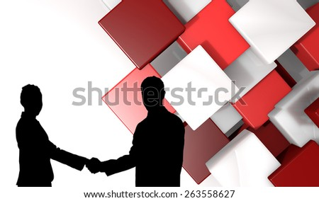 Smiling business people shaking hands while looking at the camera against abstract tile design - stock photo