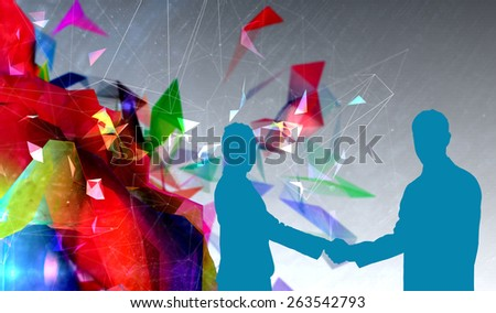 Smiling business people shaking hands while looking at the camera against geometric design - stock photo