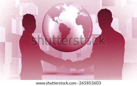 Smiling business people shaking hands while looking at the camera against planet on grey background with cubes - stock photo