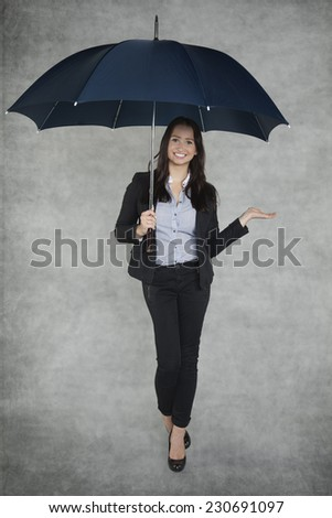 Smiling business woman can be your insurance agent - stock photo