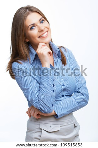 Smiling business woman close up portrait - stock photo