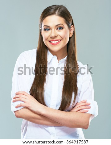Smiling business woman dressed in white shirt. Young Office worker. Positive emotion face. - stock photo
