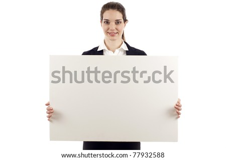 Smiling business woman holding a blank billboard over white background - stock photo
