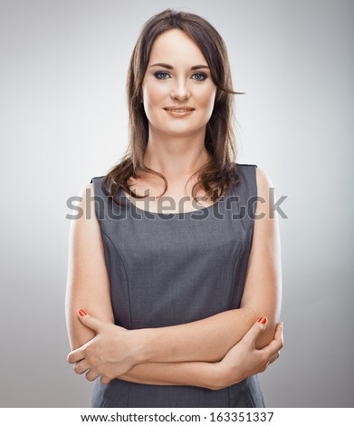 Smiling business woman. Isolated portrait. - stock photo