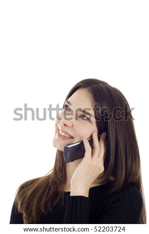 Smiling business woman on the phone looking up - thinking, a lot of copyspace. - stock photo