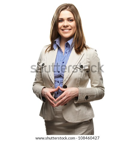 Smiling business woman portrait with folded hands against white background. Toothy smile - stock photo