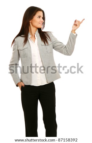 Smiling business woman presenting. - stock photo