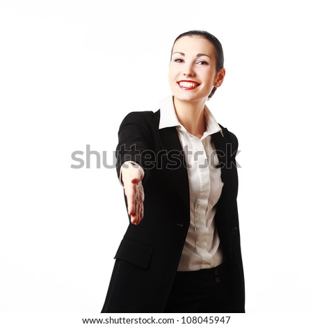 Smiling business woman ready to shake hands. Isolated on white background - stock photo