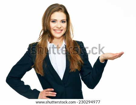 smiling business woman showing copy space for product or advertising text . isolated on white background . - stock photo