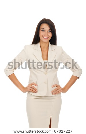 Smiling business woman standing with folded hands. Isolated over white background - stock photo