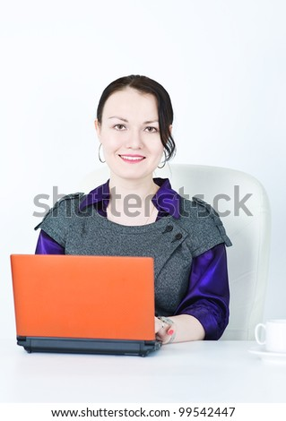Smiling business woman using laptop - stock photo