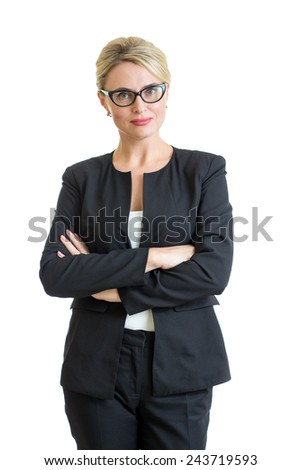 Smiling business woman weared eyeglasses isolated on white - stock photo