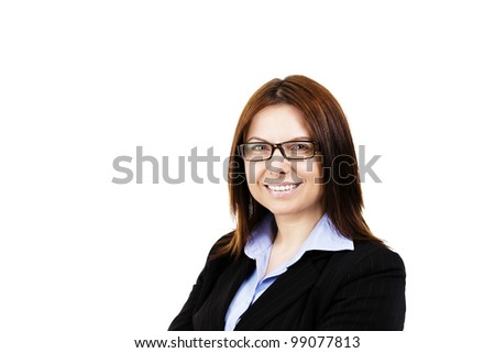 smiling business woman wearing glasses on white background - stock photo