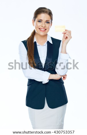 Smiling Business woman with credit card. Bank employee. - stock photo