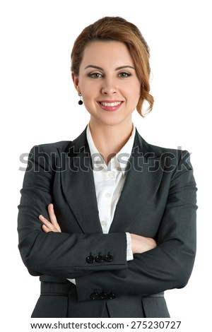 Smiling business woman with folded hands against white background. Toothy smile, crossed arms. - stock photo