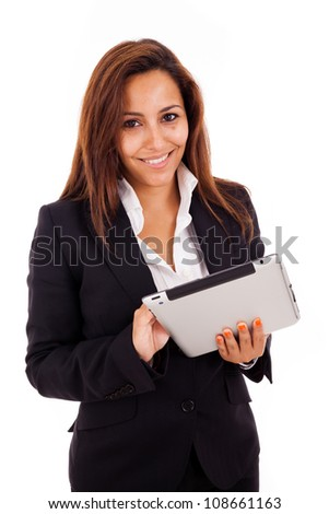 Smiling business woman with tablet. Isolated on white background. - stock photo