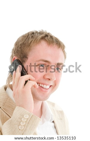 Smiling businessman call by cellular phone. Isolated on white - stock photo
