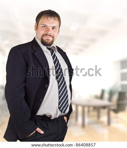 Smiling businessman on the background of of the office. - stock photo