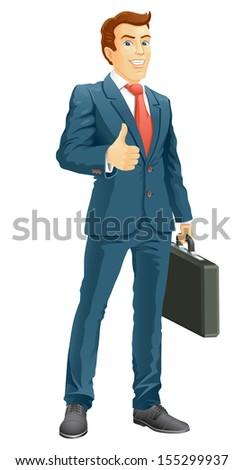 Smiling businessman shows the thumb up. Raster version, vector file also included in the portfolio. - stock photo