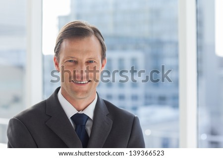 Smiling businessman standing in his office - stock photo