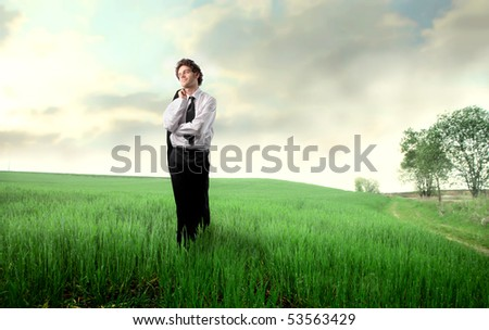 Smiling businessman standing on a green meadow - stock photo