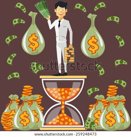 Smiling businessman standing on hourglass in coin holding dollars near bags of money. Winnings in lottery. Time is money concept. Flying around dollar notes cartoon flat design style. Raster version - stock photo