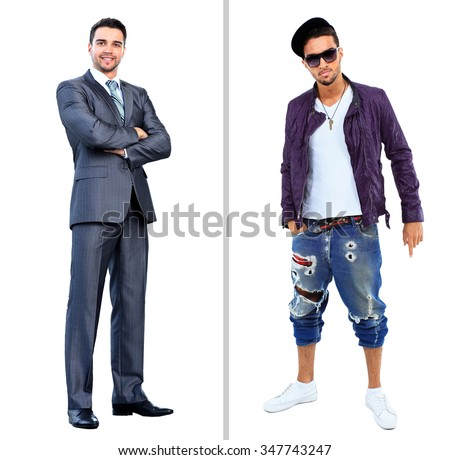 smiling businessman standing with arms crossed near full body man in a studio - stock photo