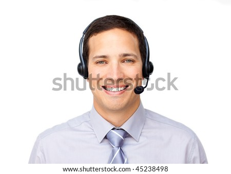 Smiling businessman talking on headset against a white background - stock photo
