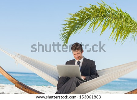 Smiling businessman using laptop and sitting in hammock at beach - stock photo