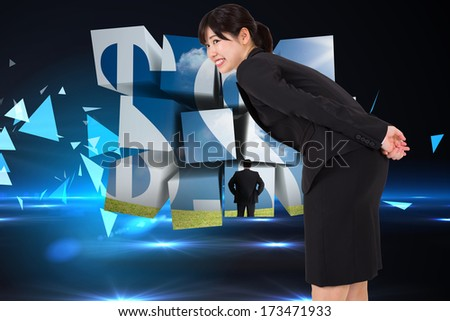 Smiling businesswoman bending against small pyramids on technical background - stock photo