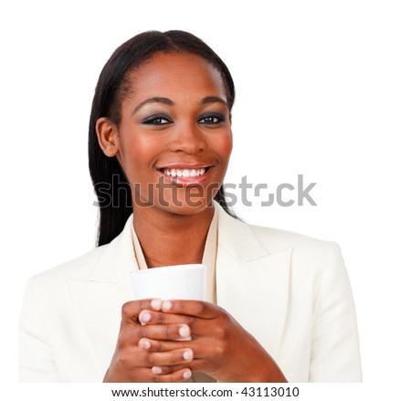 Smiling businesswoman holding a drinking cup against a white background - stock photo