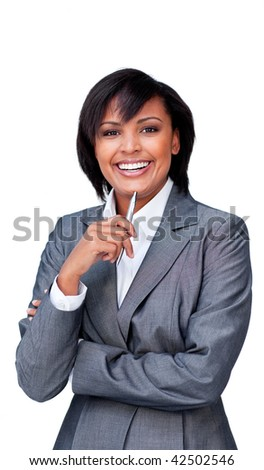 Smiling businesswoman holding a pen against a white background - stock photo