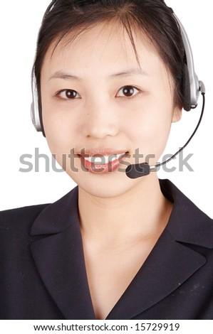 smiling businesswoman,isolated on white background. - stock photo