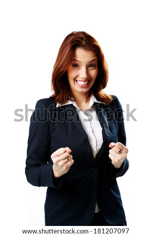 Smiling businesswoman standing isolated on white background - stock photo