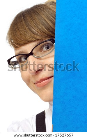 Smiling businesswoman with folder. isolated on white - stock photo