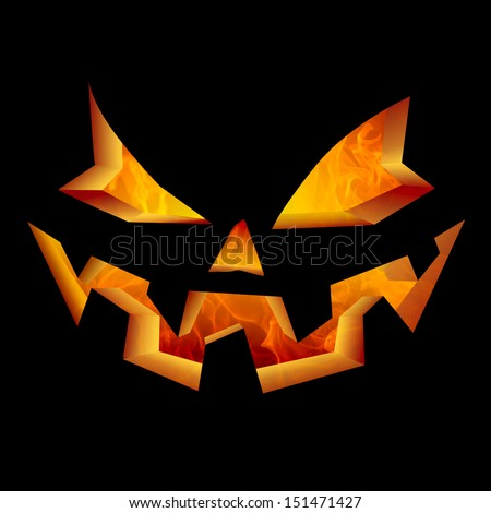Smiling Carved Jack O Lantern Halloween Pumpkin Face Glowing Flaming Interior Scary Evil Spooky Fire Flaming Interior Burning Golden Orange Horror Specter Creepy Haunted Eyes Laughing In Black Night - stock photo