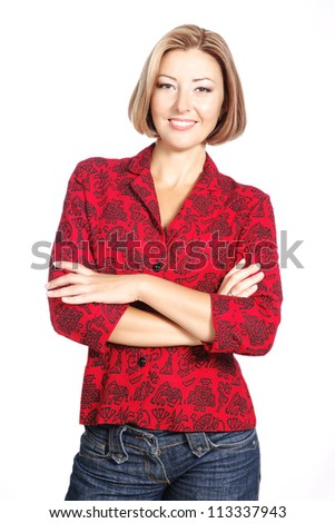 smiling casual woman standing isolated over white - stock photo